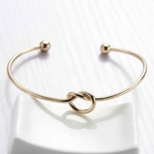Love knot cuff bangle bracelet gold stack Boho